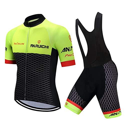 d.Stil Abbigliamento Ciclismo Uomo Set A Maniche Corte Ciclismo Pantaloncini Salopette da Ciclismo con Cuscino Anti-Sweat Anti-UV Abbigliamento per Bici da MTB(Nero-Verde, M)