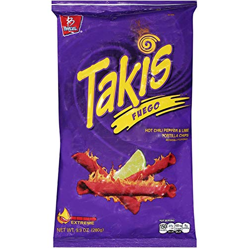 Takis Fuego Hot Chili Pepper & Lime Tortilla Chips, 9.9-Ounce Bag - PACK OF 4
