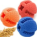 3 X DOG TREAT BALL TOYS, Dog Toys for Boredom and Interactive Dog Toys, DIET CONTROL Non Toxic Teeth Cleaning Bite Resistant Chew Dogs toys Treat Dispensing (3 Pack (Blue+Red+Orange))