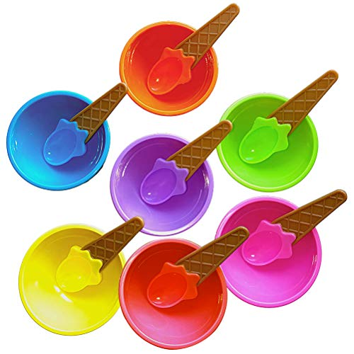 ZSWQ Juego de tazones y cucharas de Helado 7 Juegos tazón de Helado de Color Caramelo de Dibujos Animados con Cuchara, Uso de Cocina,heladerías Infantiles, Reutilizables.