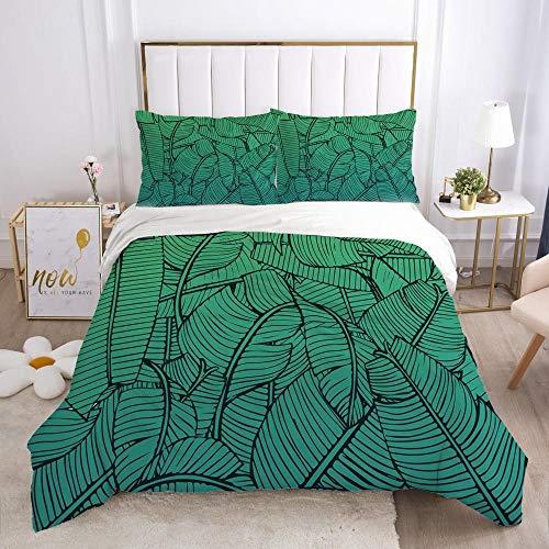 Påslakanset Grön växt bladMikrofibertyg med silkesliknande känsla-innehåller 1 x sängkläder och 2 örngott - Supermjukt med dragkedjestängningsdesign 240x220cm