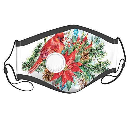 Fillter Face Cloth For Adults and kids,Christmas Themed Bird on Festive Floral Bouquet Poinsettia Pinecones and Berries,Cold Mouth Dustproof Double Protection,6 filters adults