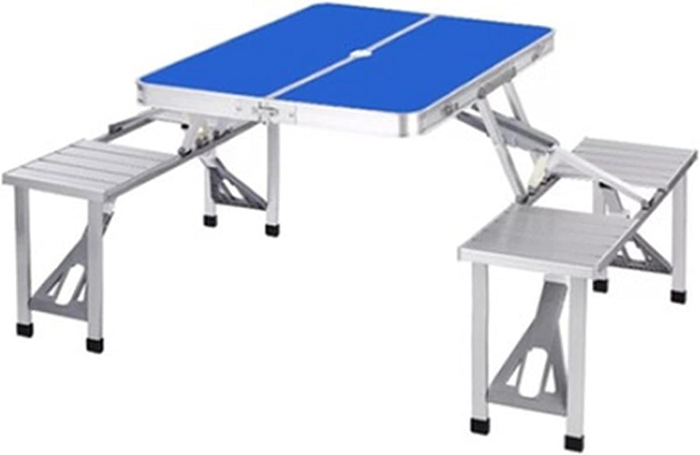 Combinación de muebles de mesa y silla plegable para exteriores, mesa y silla de picnic integrada plegable, mesa y silla portátil con 4 asientos y agujero para sombrilla, para interior / exterior /