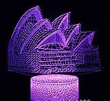 Sydney Opera House 3D Night Light 7 Colores Decoración Del Hogar Lámpara De Mesa Crack Base Led Touch Light 3D Illusion Light
