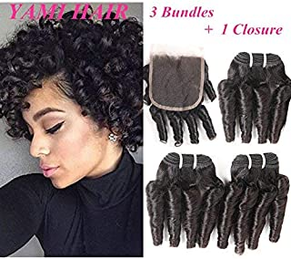 YAMI Short Curly Weave 3 Bundles with Closure Spiral Curl Hair Bundles Short Curly Weave Unprocessed Brazilian Human Hair Extensions 50g/pc Full Head Natural Black (10 12 14 +10
