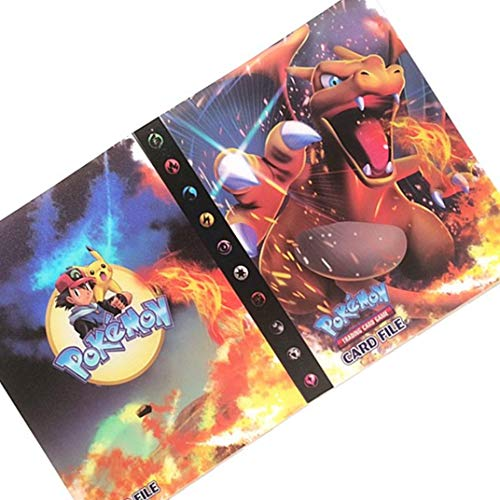 30 Páginas-120 Bolsillos-Contiene 120 tarjetas individuales o 240 tarjetas dobles (espalda con espalda), Álbum para cartas Pokemon, Álbumes de almacenamiento de tarjetas coleccionables (Charizard)