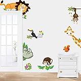 Pegatinas de Pared Vinilo Infantil Decorativo Adhesivo Decoración para Hogar Habitación de Niños Animales Niños Decoración Infantil Selva Animal