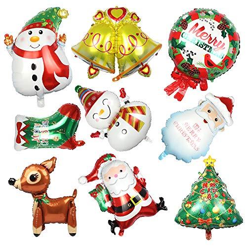 9pcs Globo de Navidad Decoraciones Globos de Navidad, Globos de Helio Globos de Papá Noel, Globos de Aluminio para Decoración de Navidad Globos de Navidad para Niños (9 estilos)