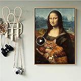 Danjiao Leinwand Kunst Abstrakte Mona Lisa Umarmung Katze