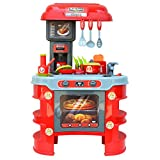 JIMMY'S TOYS Kids Play Kitchen - Chef Toy Cooking Counter Top Playset for Children Ages 3+ and Toddlers, Pretend Play Small Kitchen - Includes Pots, Pans, Utensils, and Play Food (Battery Operated)