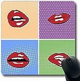 Mousepads Valentine Red Attraktive Lippen Popart Halftone Sexy Farbe Comic Cosmetic Design Längliche Form rutschfeste Gaming Mouse Pad Gummi Längliche Matte, Gummimatte 11,8'x 9,8' , 3mm...