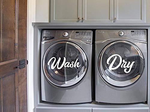 EricauBird Wash and Dry Aufkleber für Waschmaschine und Trockner, Vinyl-Schriftzug, Wäsche, Waschküche, Waschraum, Dekor, Vinyl, Aufkleber, einfach anzubringen und zu entfernen