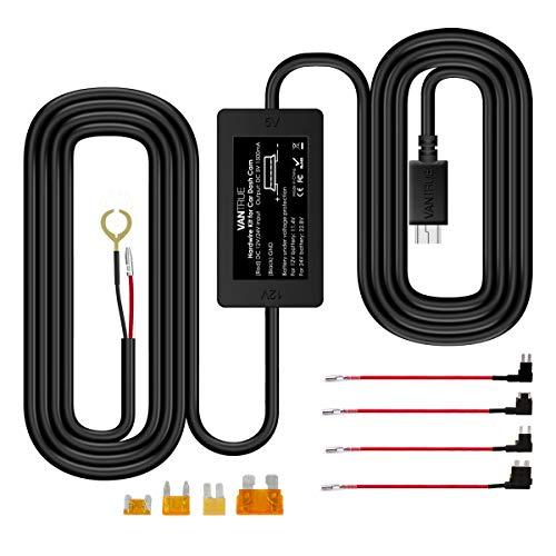 【改良型】 VANTRUE ドライブレコーダー用 電源ケーブル USB電源直結コード 降圧ライン 3m 24時間駐車監視用 12V/24V対応 5V輸出 四つヒューズホルダー付き R2 /R3/N2/N2 PRO/ X1/ X1 PRO/ X3 /ドライブ