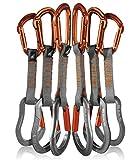 Fusion Climb 6-Pack 11cm Quickdraw Set with Contigua Orange Straight Gate Carabiner/Techno Zoom Orange Straight Gate Carabiner