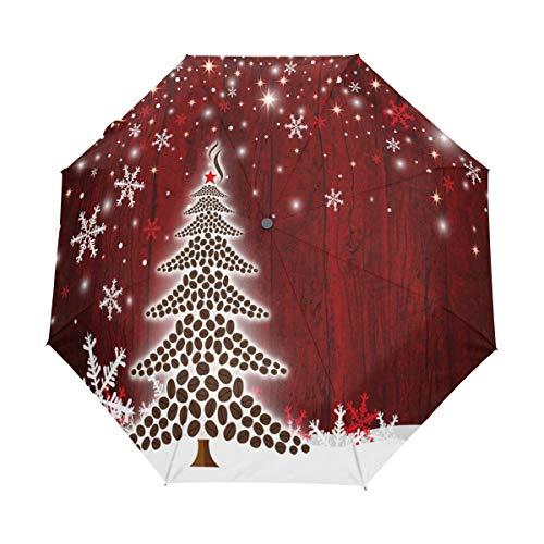 Bigjoke Regenschirm, 3-Fach faltbar, automatischer Öffnung, Weihnachtsbaum, Schneeflocke, Winddicht, Reise-Regenschirm, kompakt für Jungen, Mädchen, Männer, Frauen