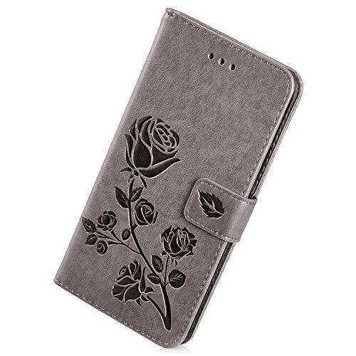 Herbests Kompatibel mit Samsung Galaxy Grand Prime Handy Hülle Handytaschen Rose Blumen Muster Retro Lederhülle Brieftasche Klapphülle Leder Tasche Handy Schutzhülle Flip Case Cover Etui,Grau