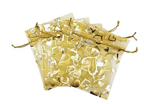 100PCS 5 '' x 7''Heart Gedruckt Organza Kordelzug Taschen Geschenk Verpackung Beutel Beispiel Display Tüll Taschen Wrapper Organizer für Candy Schmuck Party Hochzeit(Gold)