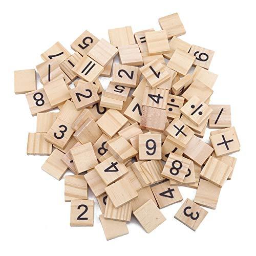 FEITeng Letras de madera alfabetos, Scrabble, baldosas, números de aprendizaje, rompecabezas educativo, juego de mesa para niños, símbolo...