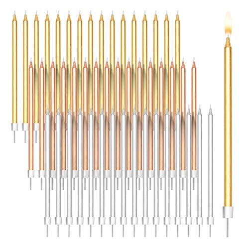 Metallic Long Thin Birthday Cake Candles in Holders (5 in, 48 Pack)