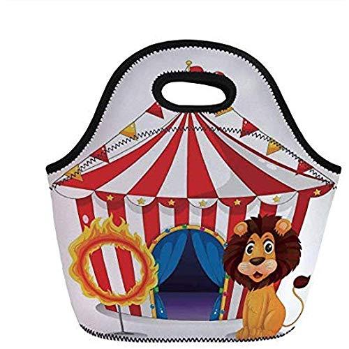 Circus Decor, Leeuw en een brandring in de voorkant van de Circus Tent Lightbulbs Flame Adventure, voor kinderen volwassen thermische geïsoleerde Tote Bags