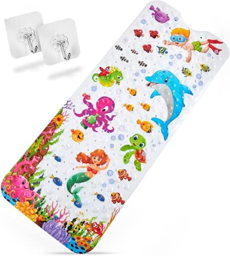 Delluxia Divertida alfombrilla de baño para niños, antideslizante, incluye suspensión, diversión en el baño con la alfombrilla antideslizante para niños, con motivos marinos animados, multicolor