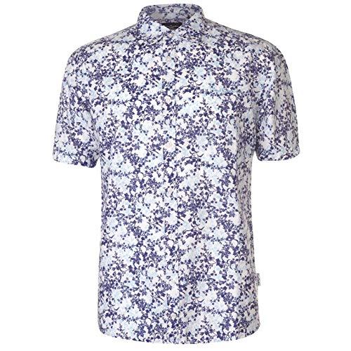 Pierre Cardin - Camicia da uomo in lino stampato, maniche corte Bleu Marine/Turq/Blanc L