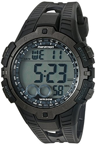 Price comparison product image Marathon by Timex Men's T5K802 Digital Full-Size Black / Gray Resin Strap Watch
