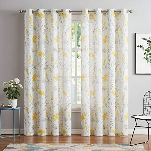 Printed Sheer Curtains Linen Textured for Living Room Floral Leaf Design Farmhouse Style Window Panel Drapes Set Grommet Treatment for Bedroom, Dining, 52 x 84 inch, Yellow