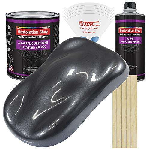 Restoration Shop - Gunmetal Grey Metallic Acrylic Urethane Auto Paint - Complete Gallon Paint Kit - Professional Single Stage High Gloss Automotive, Car, Truck Coating, 4:1 Mix Ratio, 2.8 VOC