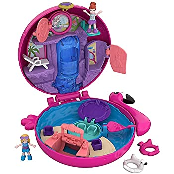 Polly Pocket Pocket World Flamingo Floatie Compact with Surprise Reveals Micro Dolls & Accessories [Amazon Exclusive]