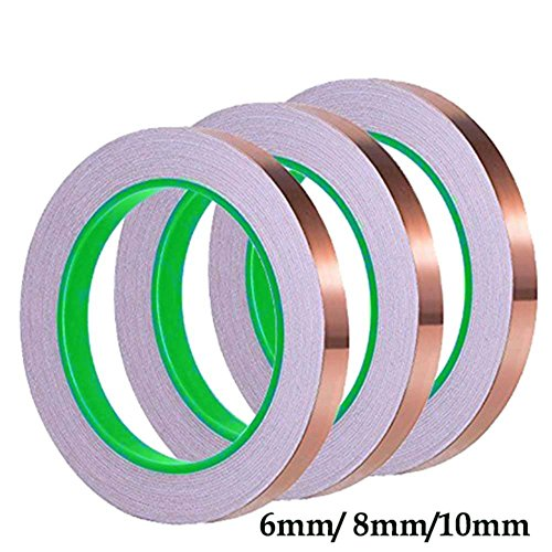 Kupfer-Folienband, doppelseitig, leitfähiges Klebeband für EMI-Schirmung, Buntglas, Bastelarbeiten, Schneckenabwehrmittel, elektrische Reparaturen, Löten, Papierschaltkreise