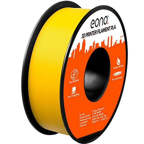 Eono by Amazon 3D Printer PLA Filament, Tangle-Free with 0.03 mm Dimensional Accuracy, 1.75 mm, 1 kg Spool, Yellow
