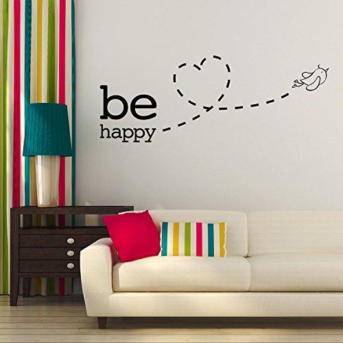 Adesiviamo® Be Happy Bird Fly Love Wall Sticker Adesivo da Muro