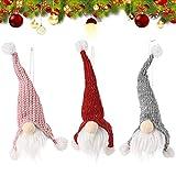 BETOY Muñeca sin cara, 3 piezas, muñeca sin cara, colgante, decoración de muñeca, decoración navideña, apto para la fiesta de Navidad, vitrina de familia, 25 x 7 cm (rojo, rosa y gris)