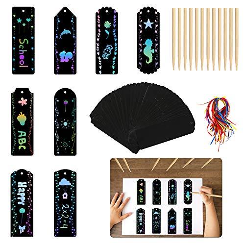 TAZEMAT Scratch Art Set Festa Compleanno Natale Scratch Art Libri Grattare Segnalibri Notebook Fai da Te Artigianato Dipinto Etichetta Colorati Regalo Squisito