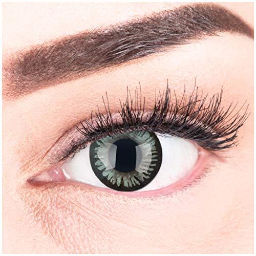 Graue Premium Kontaktlinsen BE Lovely Gray 15mm Farbige Meralens Linsen Ohne Stärke Grau + Kontaktlinsenbehälter, weiche 3-Monatslinsen im 2er Pack