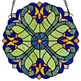 Bieye W10013 Victorian Tiffany Style Stained Glass Window Panel Hangings with Chain, 12-inch Wide, Blue