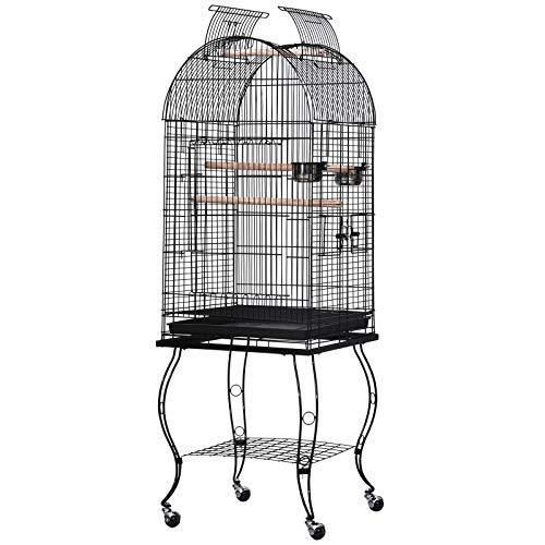 Pawhut Gabbia per Uccelli, Canarini e Volatili, Voliera per Pappagallini in Metallo Nero con Ruote 53x53x153cm