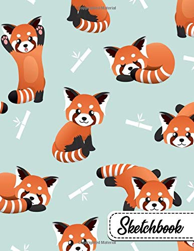 Sketchbook: Pretty Bamboo Red Panda Bears Large Blank Sketchbook with Ample Crisp White Pages for Drawing, Sketching, Doodling and More. Cute Extra Large XL Notebook with a Softback Cover.