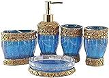Accesorios de baño vintage azules de 5 piezas, set de accesorios de baño, funciones de set de baño, dispensador de jabón, portacepillos, taza y jabonera - Golden Glossy - set de regalo de baño