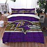 Big horn deer 3 Piece Bedding Set,Baltimore City Ravens Wooden Texture Football Emblemmaryland,1 Duvet Cover Set 135x200 cm,2 Pillowcase 50x80cm