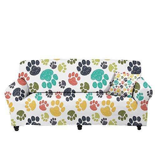 chaqlin Funda de sofá con diseño de pata de perro para 1 plaza, funda elástica universal para sofá, decoración de salón, dormitorio, fundas de sofá duraderas para sillón/sofá o sofá grande