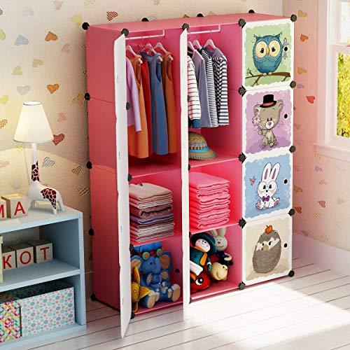 BRIAN & DANY Erweiterbares Kinderregal Kinder Kleiderschrank Stufenregal Bücherregal mit Türen & 2 Aufhängern, Tiefere Fächer als Normal (45 cm vs. 35 cm), 110 x 47 x 147 cm, Rosa