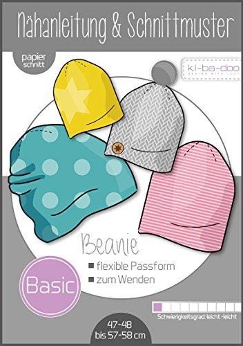 Schnittmuster kibadoo Basic Beanie Mütze Papierschnittmuster