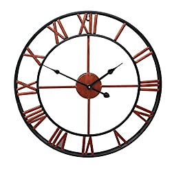 SIEMOO Large Retro Wall Clock, Vintage Iron Metal Clock with Roman Numerals Battery Operated Silent Non-Ticking Clock for Home, Living Room, Kitchen Decor (40CM) (Red)