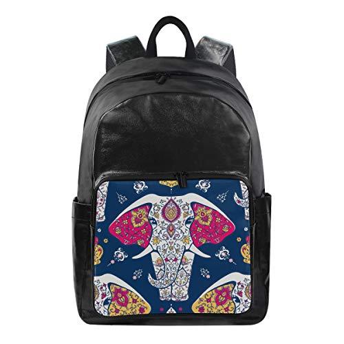 LZXO Unisex Schulrucksack Tribal Ethno Elefant Blume Wasserabweisend Segeltuch Schultasche Leichter Organizer Rucksack passt 39,6 cm (15,6 Zoll) Laptop für Jungen Mädchen Herren Damen