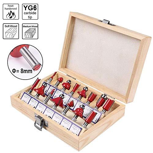 flintronic Fräser-Set, Fräsen Werkzeug Set 15-tlg Holzkoffer Geschmiedeter Werkzeugstahl Oberfräser Holzschneider Holzbearbeitung mit Kunststoff-Box
