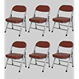 6脚セット 折りたたみチェアー ちびパイプ椅子 スツール ミニ ブラウン lh-018 br-6