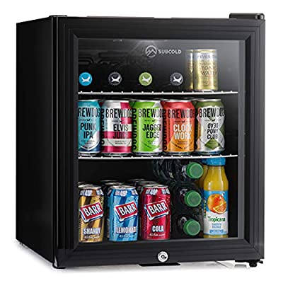 Subcold Super50 LED – Mini Fridge Black   50L Beer, Wine & Drinks Fridge   LED Light + Lock & Key   Energy Efficient (Black) by Subcold