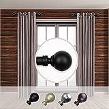 Rod Desyne Home Decorative Globe 1' Diameter Side Window Curtain Rod 12-20' Long (Set of 2) - Black